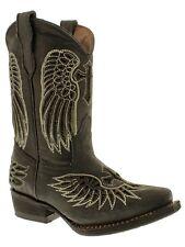 Girls Kids Toddler Black Western Wear Cowboy Boots Real Leather Wings Cross Snip