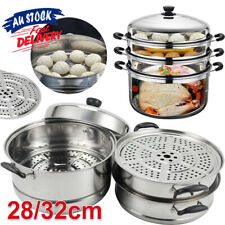 4 Tier Hot Pot Steamer 32cm Cookware Stainless Steel Food Cooking Stock ACB#