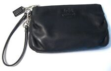 Coach Black Genuine Leather Wristlet ID Card Coin Cosmetic Bag Purse Wallet