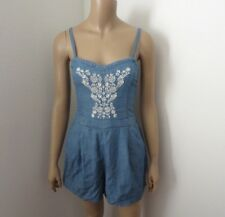 Hollister Chambray Embroidered Romper Jumper Size Small Blue & White
