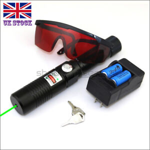 GX1-C 520nm 1MW Visible Green Laser Pointer Lazer Pen&Battery&Charger&Goggles UK