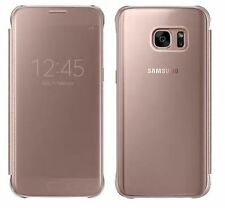 NEW GENUINE SAMSUNG GALAXY S7 PINK ROSE GOLD CLEAR VIEW COVER FLIP CASE WALLET