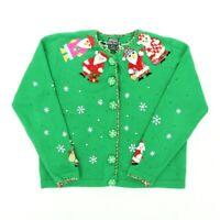 "VTG 90s Berek Women Medium 43"" Ugly Christmas Cardigan Sweater Beach Santa Snow"