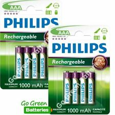 8 x Philips AAA 1000 mAh Rechargeable Batteries NiMH HR03 LR03 ACCU phone