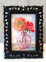 Ranunculi Framed Original Textured oil painting Floral still life