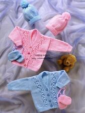 (695) Knitting Pattern for Baby Cable and Lace Cardigans, Hat, Mittens, 14-22''
