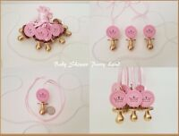 Princess Pacifier Necklace Baby Shower Favor 12 GOLD/PINK Its a Girl Decoration
