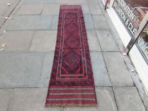 Vintage Hand Made Afghan Mushvani Oriental Red Blue Wool Narrow Runner 248x57cm