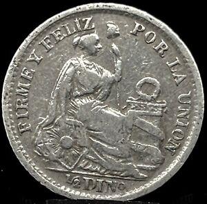 Peru 1/2 Dinero 1904 JF  (KM 206.2) .900 Silver Coin.
