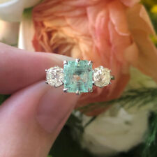 3ct COLOMBIAN EMERALD VS DIAMOND RING OLD MINE CUT VINTAGE ROSE GOLD COCKTAIL
