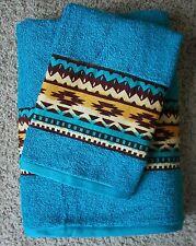 SOUTHWESTERN/WESTERN TOWEL SET 2 PC. TURQUOISE,SOUTHWEST INDIAN BLANKET BORDER