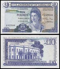Gibraltar 10 Pounds, 1986, P-22b, UNC, Queen Elizabeth II (QEII)