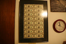 FRAMED 1976 2 DOLLAR BILL SHEET LOW SERIAL # STAR NOTE UNCUT 16 BILLS SERIES H