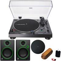 """Audio-Technica AT-LP120XUSB-BK Turntable & 2 Mackie CR3 3"""" Speakers Bundle Black"""