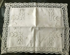 More details for antique continental white cotton pillow case lace whitework embroidery 16x14