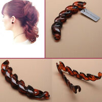 Banana Hair Clip Claw Comb Riser Twisted Style BROWN Grip Women DIY Interlocking