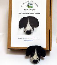 Black Springer Spaniel Dog Brooch Complete Needle Felting Kit with Merino Fleece