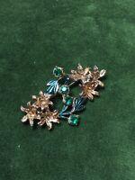 1940s Vintage Brooch Enamel Green Paste Glass Floral Jewellery Pin 1950s