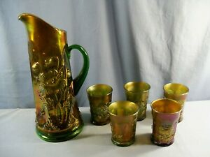 Northwood Green Carnival Glass ORIENTAL POPPY Water Set Tankard 5 Tumblers