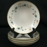 "Set of 4 VTG Berry Bowls 5 1/4"" Noritake Elmdale Blue & Gold Leaves 6219 Japan"