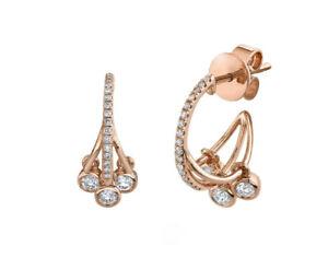 14K Rose Gold Diamond Shaker Huggie Earrings Round Cut Natural Drop Bezel Unique