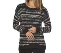 Calvin Klein Womens Black White Knit Crew Neck Pullover Sweater Size M