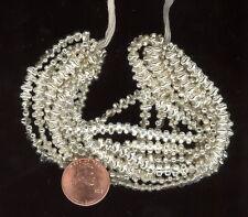 Hank Approx. 600 Small Antique Czech HOLLOW Silver Mercury Glass Beads 4x3mm