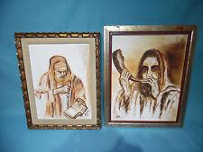 1968 & 69 signed framed canvas Rabbi w shofar tanakh Jewish painting Judaica art