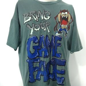 Looney Tunes FREEZE 1995 Taz BRING YOUR GAME FACE Green Single Stitch Shirt XL