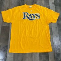 Majestic Tampa Bay Rays Adult Men's Size 2XL Short Sleeves Yellow T Shirt