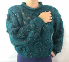 Icelandic Design Womens Sweater Fuzzy Mohair Wool Teal Cropped S/M