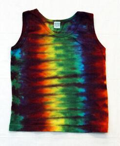 New Unisex Youth Tie-Dye Tank Top - 100% Cotton Rainbow Stripe