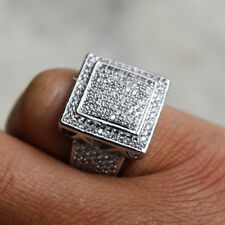 14K WHITE GOLD OVER MEN'S CLEAR DIAMOND ENGAGEMENT WEDDING PINKY RING 2.60 CARAT