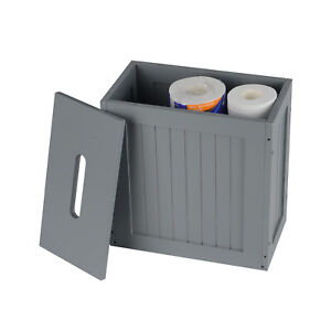 Wooden Crisp Finish Small Toilet Cleaning Product Storage Tidy Box Unit uk