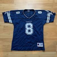 Vintage Troy Aikman Dallas Cowboys Jersey Kids Large 14-16 NFL Football Blue 90s