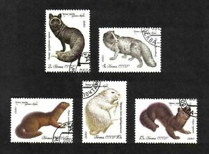 Russia 1980 Fur-bearing Animals complete set of 5 values (SG 5008-5012) used