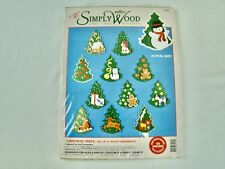 Simply Wood Christmas Trees12 Piece Ornaments Paint Craft New