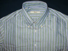 CAMICIA INGRAM SLIM FIT - 41  COLLO BUTTON DOWN A RIGHE BLU VERDE BIANCO