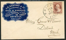 ADV COVER 1857 S.H Kerfoot & Co Real Estate Chicago Sc #11 Dull Red 22R7 PF Cert