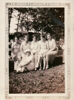 Vintage Old 1930's Photo Group of Women Friends in Park Cloche Hat Fashion