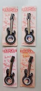 4 Beatles 1964 original plastic brooch NEMS Invicta card Paul Ringo John George