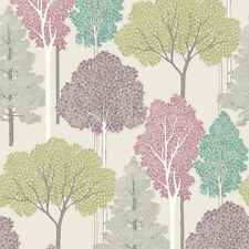 Ellwood Multi Purple and Green Trees Wallpaper Silver Glitter by Arthouse 670000