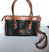 DOONEY & BOURKE Vintage Black Pebbled Brown Leather Satchel Shoulder Tote Bag