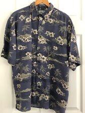 Big Dogs Mens L Blue Floral Hawaiian Shirt Short Sleeve Button Up EUC