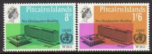 Pitcairn Islands Scott # 62-3 VF Unused 1966 WHO Headquarters