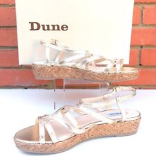 Dune Joby Gold Leather Strappy Gladiator Basketweave Wedge Sandals Uk7 Eu40