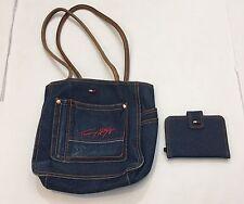 Tommy HIlfiger denim tote bag pocketbook shoulder and matching wallet purse