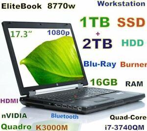 Workstation 17.3 HP 8770W i7-QUAD Blu-Ray Burner (1TB SSD + 2TB) 16GB K3000M 2GB