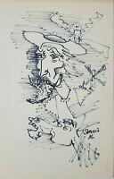 Drawing by Sergio Martinez Sopeña ¨Don Quijote¨ 1978. Original signed.