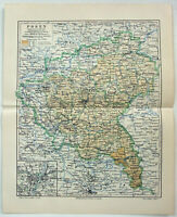 Posen Province, Germany - Original 1908 Map by Meyers. Antique